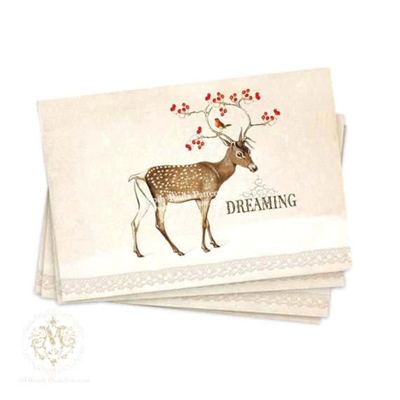 Christmas, deer, card set, winter woodland, snow scene, reindeer, dreaming, antlers, red berries, robin, white Christmas, holiday note cards