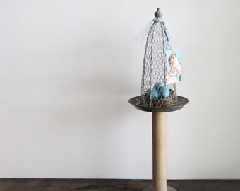 Large Easter Display Stand – Made With Vintage Pie Pan, Wood Spool and Wire Cloche