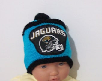 Hand made knit nfl JACKSONVILLE JAGUARS baby hat 0-12M- cute gift photo prop