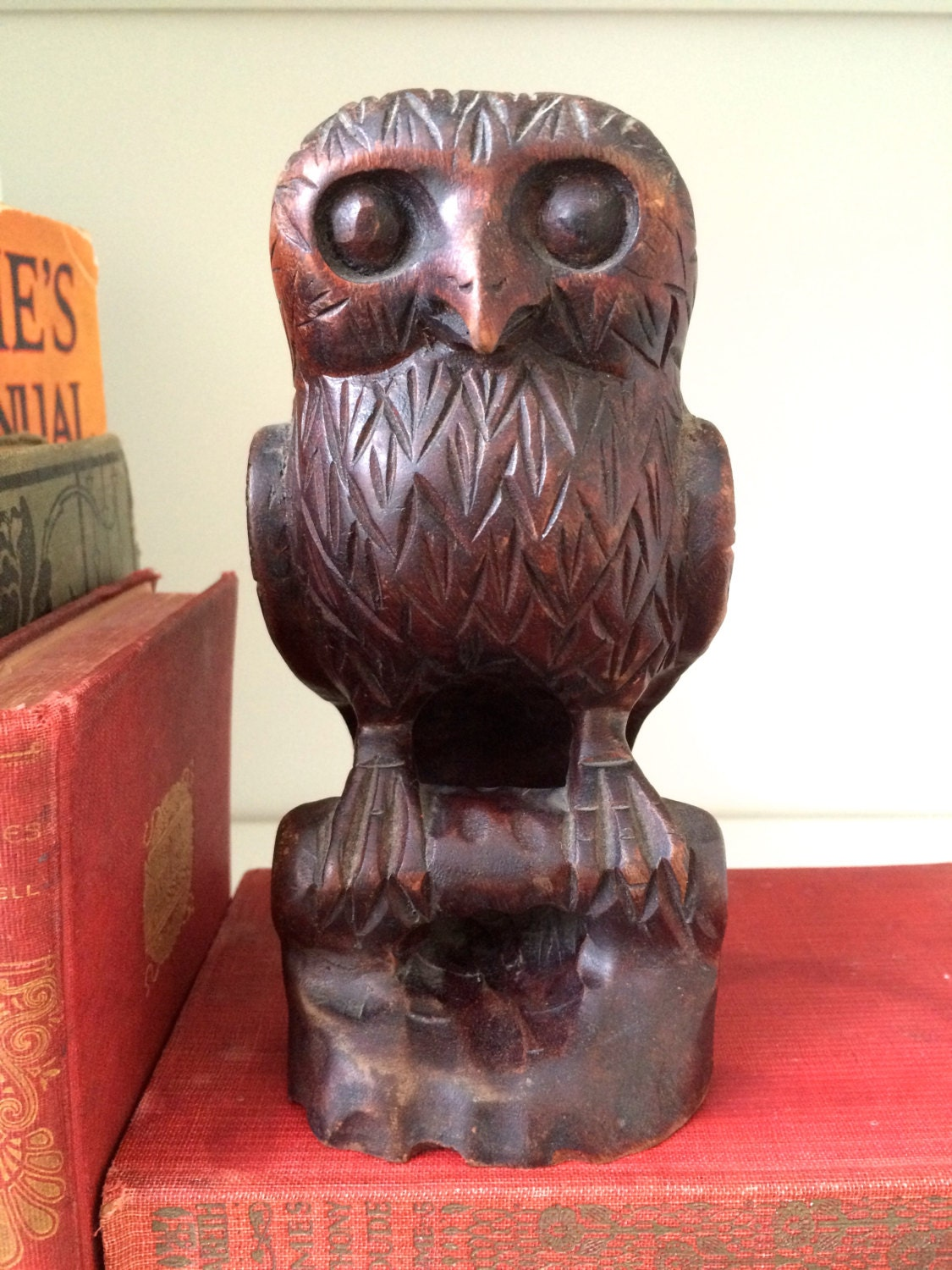 Owl carving wood sculpture by ellasatticvintage on etsy