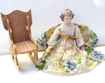 Vintage Procelain Doll, Doll Rocking Chair, Bisque Doll, Wooden Rocker, Hanky Dress