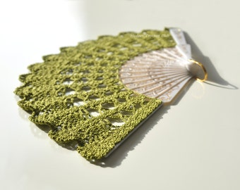 Moss GREEN Lace Fan- Greenery Wedding Fan- Hand Held Fan- Gift for Bride- Gift under 50- Lace Hand Fan- Folding Hand Fan- Bridal Fan