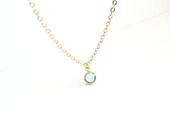 Aquamarine Crystal Necklace, Tiny Crystal Necklace, Thin Gold Necklace, Simple Crystal Necklace, Delicate Gold Necklace, Tiny Gold Necklace