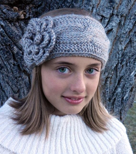 Tunisian Knit Stitch Headband Pattern : Tunisian Crochet Cable Headband Pattern with Flower Tunisian