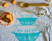 White Cotton Tea Towel, Pyrex Amish Butterprint Nesting Bowls