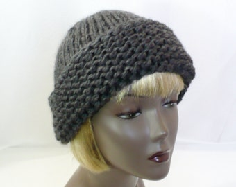 Gray Russian Style Hat - Hand Knit Winter Hat, Wool Ski Cap, Cossack Hat, Man's or Woman's Hat, Handmade in the USA, Ready to Ship