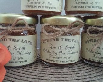 Rustic Chic Mini Jams/ 20 Spread The Love Wedding Favors/ 1.5 0z/  Shower / Engagement Party/ Save The Date/ Rehearsal Dinner