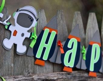 Space Birthday Banner, Astronaut Happy Birthday , Rocket ship, Rocket Birthday Banner