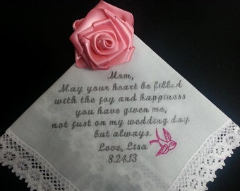 Embroidered MOTHER of the BRIDE Personalized Wedding Handkerchief