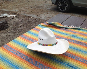 Vietnam Service Ribbon loom beaded hatband with black Deerskin backing