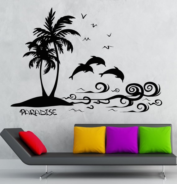 Items similar to wall decal paradise palm island vacations for Dolphin paradise wall mural