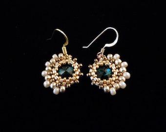 Gold Earrings, Evening Earrings, Beaded Earrings,  Emerald Green Earrings, Vintage Style Earrings, Drop Earrings