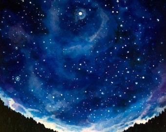 Night Sky Landscape Painting, Tent Under Stars - Photo Print