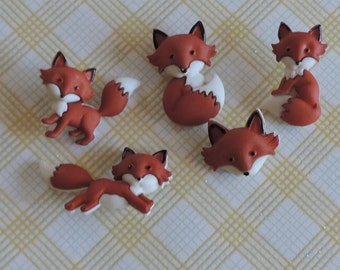 """Fox Buttons, """"Outfoxed"""" Packaged Novelty Button Assortment by Dress It Up, Jesse James, Shank Back Buttons, Embellishments"""
