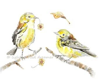 Yellow Bird Print, Autumn Decor, Yellow Bird Painting, Autumn Bird Print,  Nursery Decor, Yellow Nursery Art