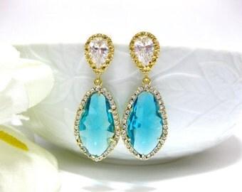 Teal Blue Teardrop Earrings Bridal Drop Earrings Cubic Zirconia Earrings Bridesmaid Gift Wedding Jewelry Blue Earrings (E057)