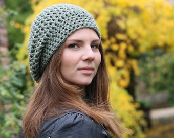 Women's Slouchy Beanie Hat in Sandalwood  Crochet Slouchy Beanie Women's Crochet Hat, Spring Fashion Accessories, Green