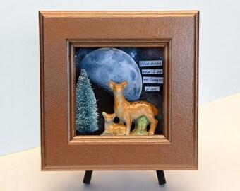 wall hanging, assemblage, mixed media original, shadowbox,moon, pine tree,deer, fawn,OOAK,