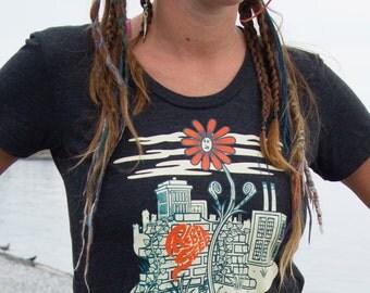 Original Art Shirt Punk Art Shirt Message Shirt with Flower Black Screen Printed American Apparel Tri-Black Sizes (S M L XL)