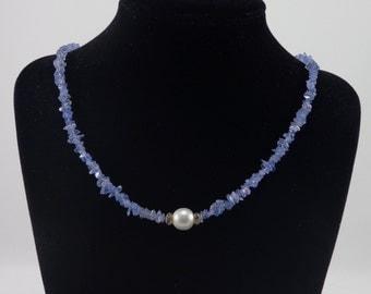 Tanzanite and Pearl Necklace/ blue/ violet/ Tanzanite/ rare/ gemstone/ white/ Pearl/ Necklace