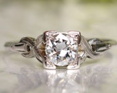 Antique Engagement Ring 0.51ct I/VS Transitional Cut Diamond Art Deco Engagement Ring 18K White Gold Diamond Wedding Ring with Appraisal!