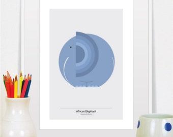 elephant print, elephant art, elephant, elephant wall art, elephant decor, elephant nursery, animal print, animal art, nursery art, nursery