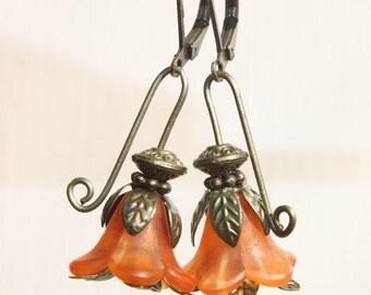 Orange Earrings Flower Earrings Lucite Earrings Dangle Earrings Gift Ideas Spring Earrings
