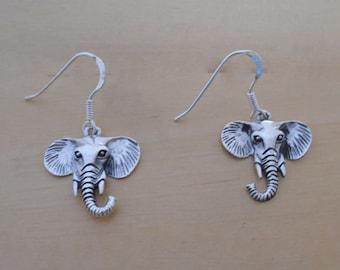 925 Sterling Silver Elephant Drop Dangle Earrings