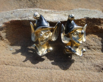 Vintage Joker Jester Clown Elf Clip On EARRINGS