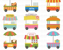 Food cart vector Digital Clipart - Instant Download - EPS, Pdf and PNG files included