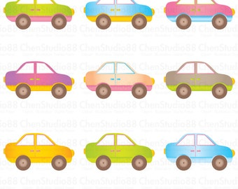 Cute car vector - Digital Clipart - Instant Download - EPS, Pdf and PNG files included