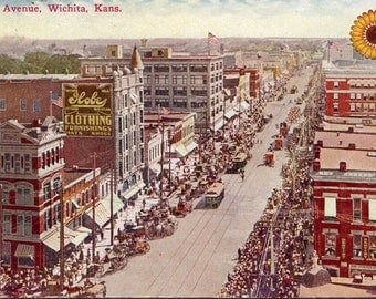 Wichita  - Lot of 2 - Antique Postcards - Kansas Street Scene & Building