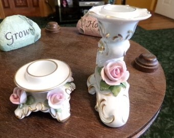 Sale AK Kaiser West Germany candle holders with rose design, vintage West Germany candle holders, gift for her, wedding gift