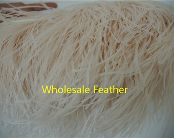 10 yards/lot ivory ostrich feather trimming fringe on Satin Header 5-6inch in width for Wedding Derss