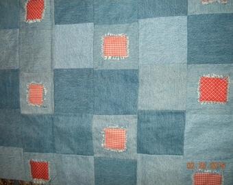 SUMMER SALE Handmade Blue Jean Quilt Throw / Picnic blanket / Baby palymat