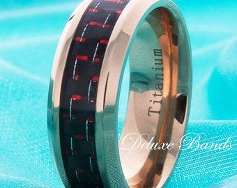 Rose Gold Titanium Wedding Band Mens Titanium Rin Red Carbon Fiber Inlay Rose Gold Titanium Ring Anniversary Mens Womens Titanium 8mm Ring