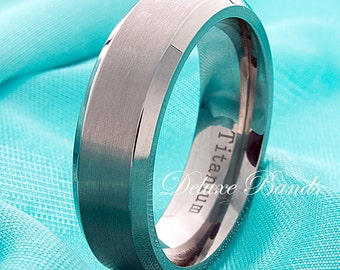 brushed titanium wedding bandbeveled edges ring7mmmens titanium ring custom - Titanium Mens Wedding Rings