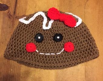 Crochet gingerbread girl hat