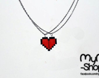 Zelda Heart pixel 8 bits couple  friendship love gamer link  beautiful necklaces or keychain  handmade by mymshop