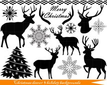 21 PNG+ 4 backgrounds- Christmas deers (black) Set Clipart - Digital Clip Art Graphics- Personal- Commercial Use(104)