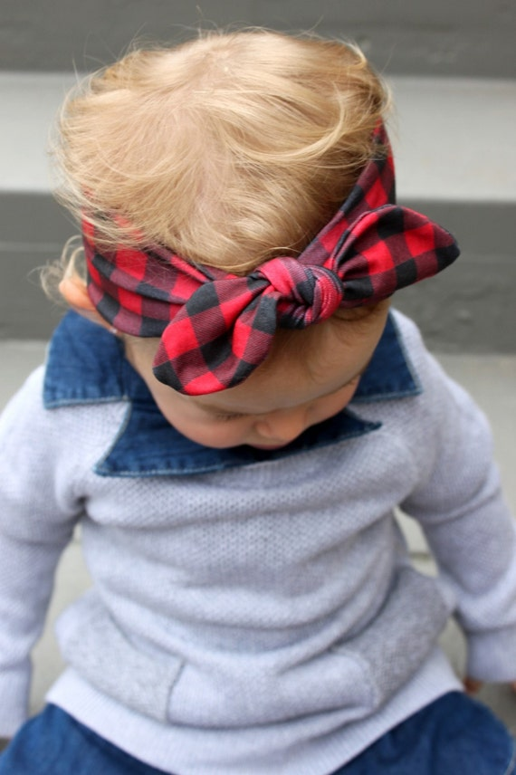 Buffalo Plaid - Knot Headband - Tie Headband - Jersey Knit - Baby Headband - Toddler Head Wrap