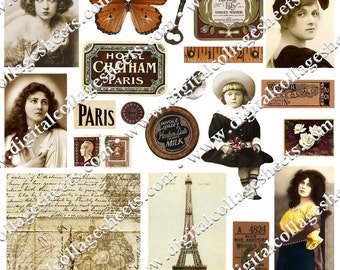Color Brown Digital Collage Sheet Vintage Ephemera Antique Photographs Instant Download Mixed Media Altered Art Images dcs187