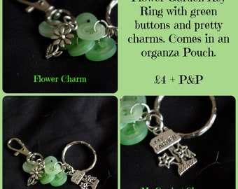 Garden inspired button keyring with charms