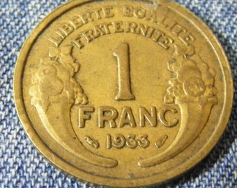 The old French currency - 1F- 1 Franc 1933 - Coin - Collection