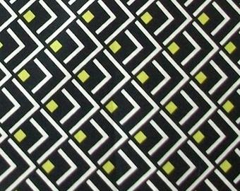 Fabric - 100% Cotton Geometric Pattern Yellow Black DIY Cushion Curtain Handmade