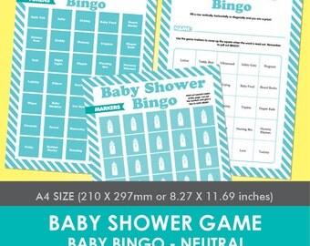 Baby Shower Game - Baby Bingo - Neutral (Aqua)