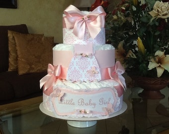 baby girl diaper cake pink elegant diaper cake baby shower gift centerpiece three tier diaper