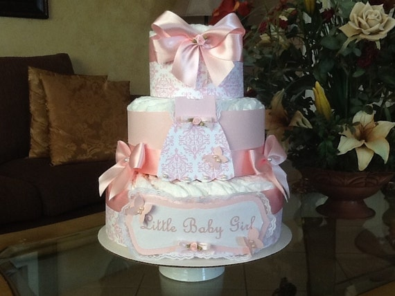 Baby girl diaper cake pink elegant diaper cake baby shower Elegant baby shower decorations