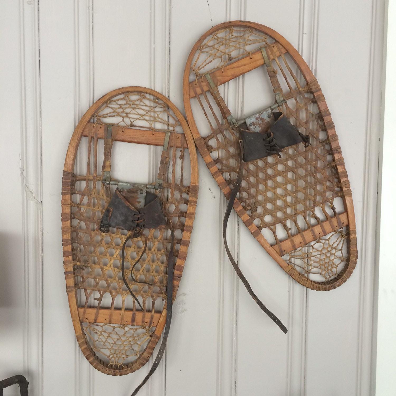 Vintage Wooden Snowshoes U.S. Fahlin 1945