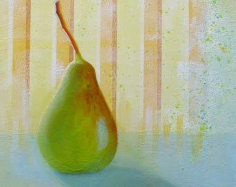 Original Small Painting of a Pear in the Morning Sun